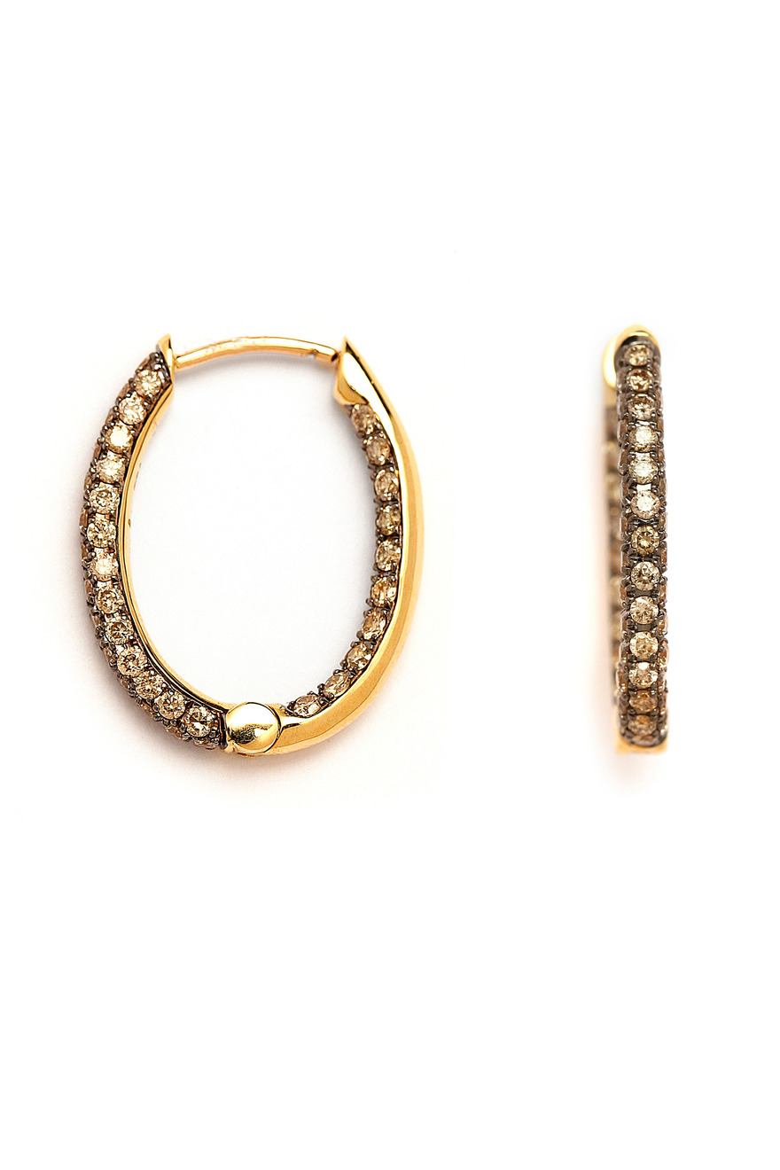 Diamond Yellow Gold Oval Hoops