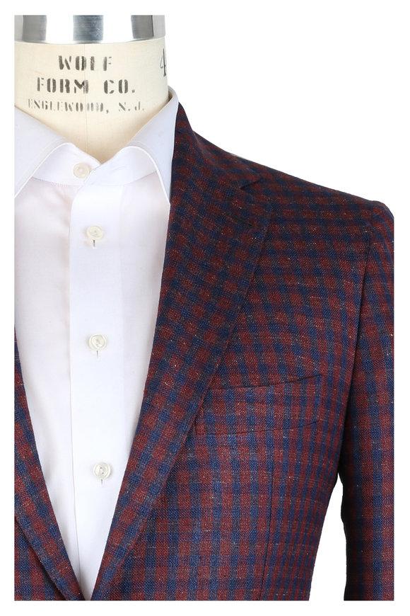 Mauro Blasi Burgundy Gingham Silk, Linen & Wool Sportcoat