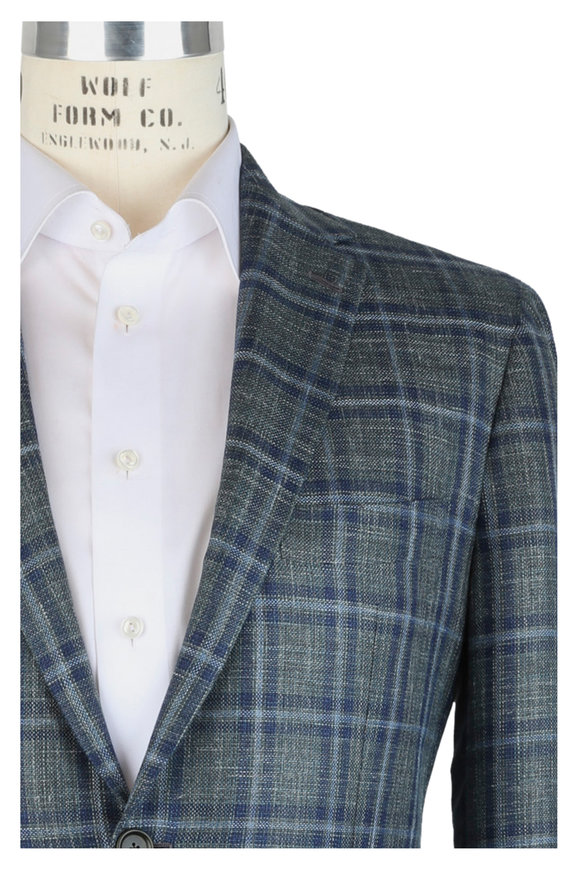 Mauro Blasi Green Windowpane Wool, Silk & Linen Sportcoat