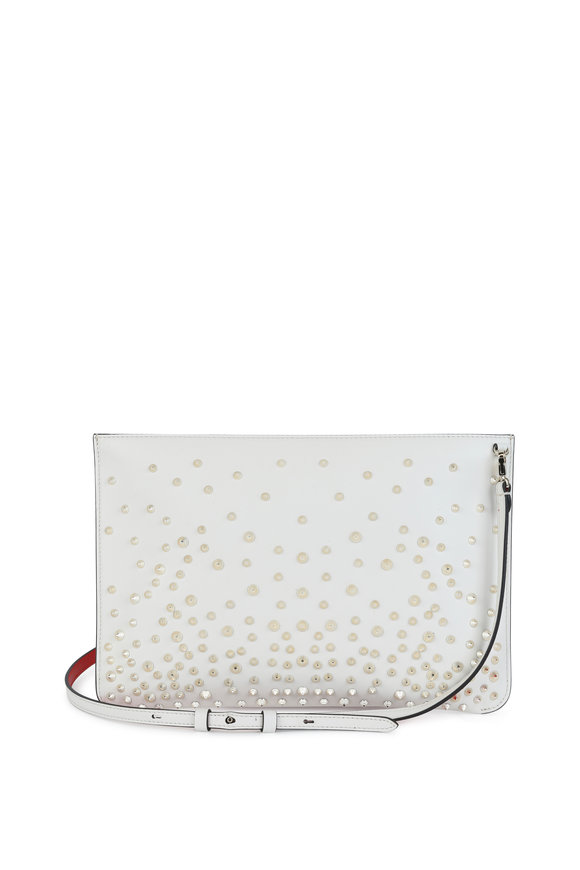 Christian Louboutin Loubiclutch White Leather Stud Detail Clutch