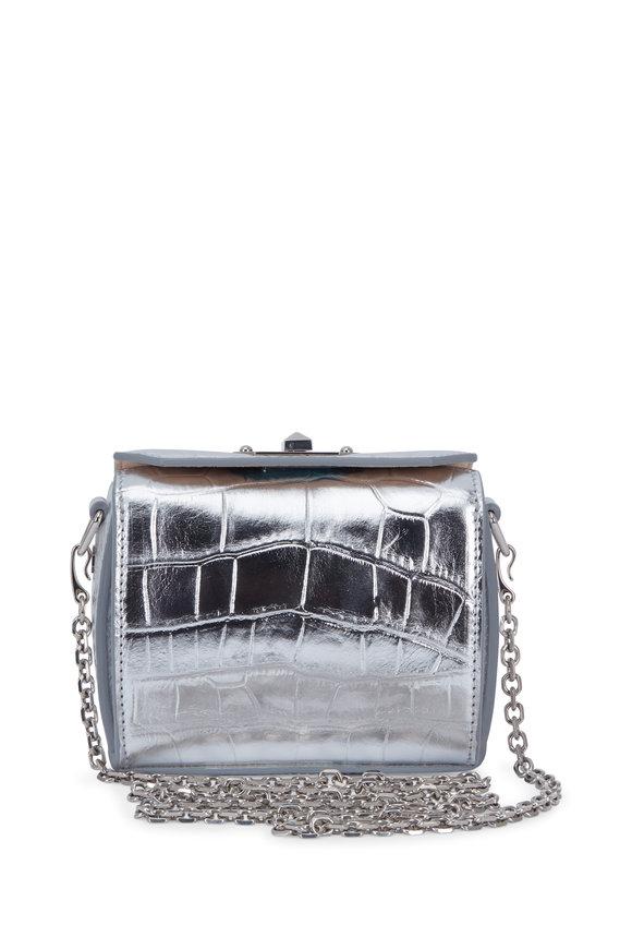 Alexander McQueen Box Bag Silver Croc Embossed Nano Shoulder Bag