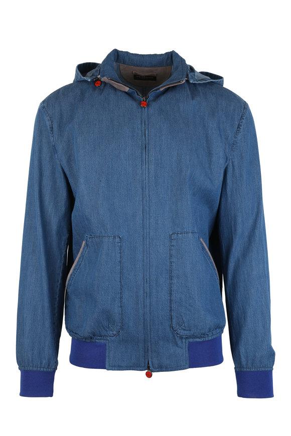 Kiton Blue Denim Hooded Jacket