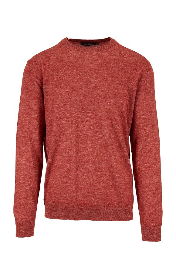 Ermenegildo Zegna Brick Red Melange Crewneck Sweater