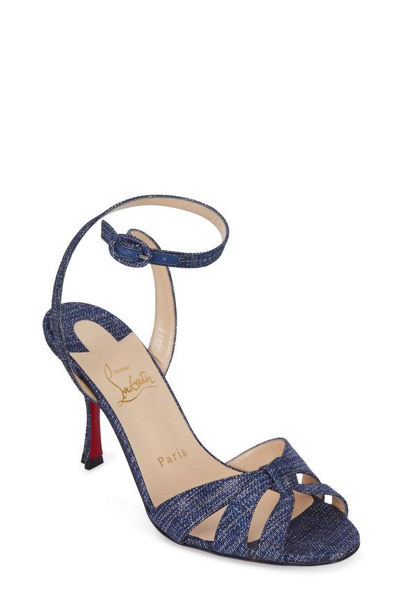 Christian Louboutin Trezuma Lamé Lux Denim Sandal, 85mm