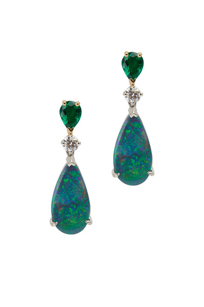 Oscar Heyman - Platinum Opal Emerald Diamond Drop Earrings