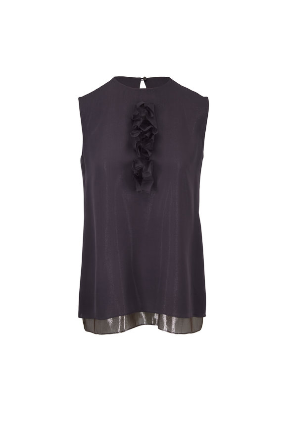 Olivine Gabbro Storm Gray & Silver Illusion Sleeveless Blouse