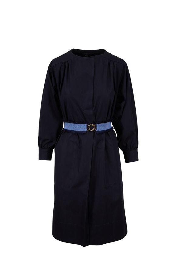 Derek Lam Navy Blue Shirred Sleeve Belted Shirtdress