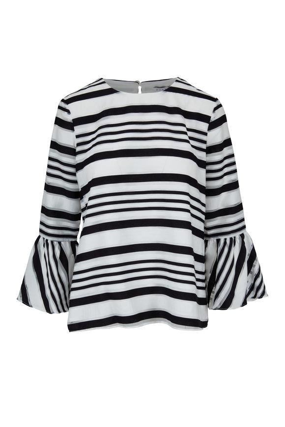 Donna Degnan Black & White Striped Jacquard Blouse