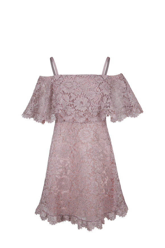 Valentino Lilac Lace Off-The-Shoulder Dress