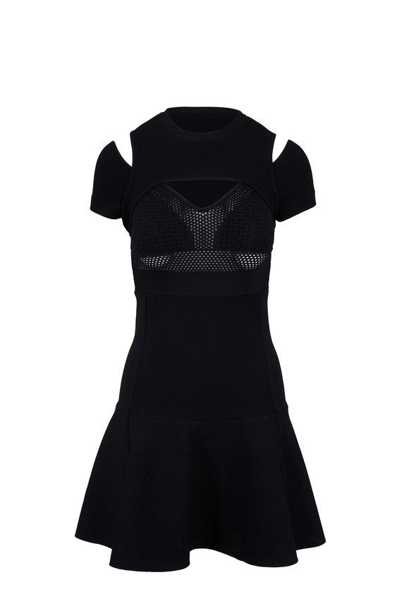Valentino Black Knit Cut-Out Shoulder Dress