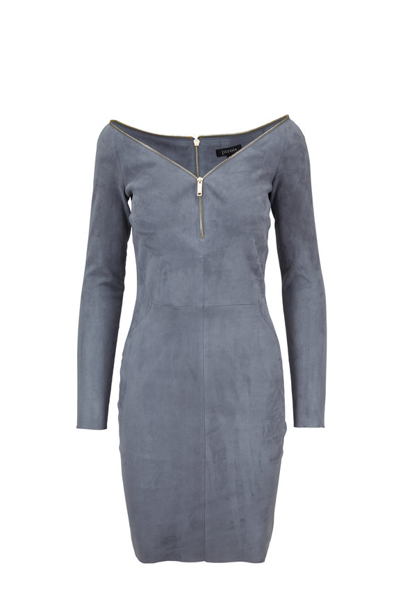 Jitrois Diva Gray Stretch Suede Long Sleeve Dress