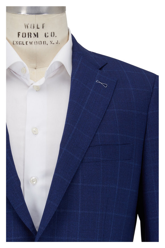 Atelier Munro Navy Blue Wool Windowpane Suit