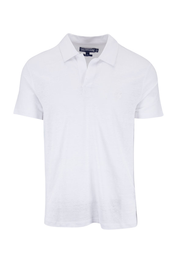 Vilebrequin White Pyramid Linen Regular Fit Polo