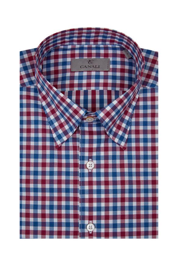 Canali Blue & Raspberry Gingham Modern Fit Sport Shirt