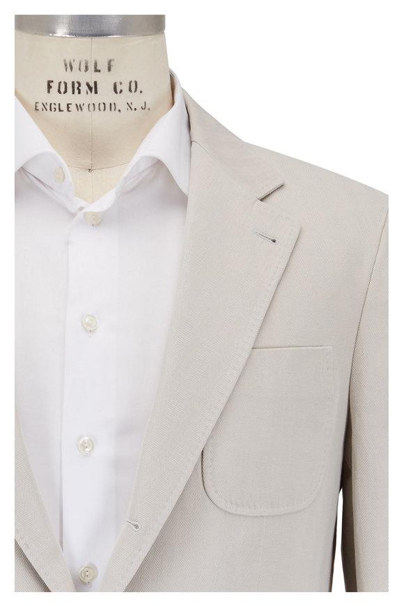 Brunello Cucinelli Beige Cotton & Linen Herringbone Sportcoat