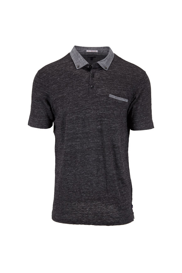 Good Man Brand Charcoal Gray Linen Pocket Polo