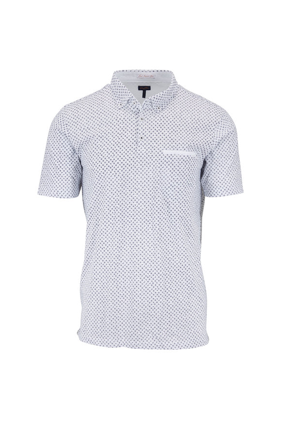 Good Man Brand Navy Micro Print Jersey Polo