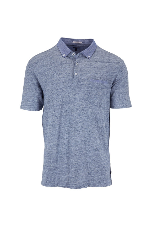 Good Man Brand Heather Blue Linen Pocket Polo