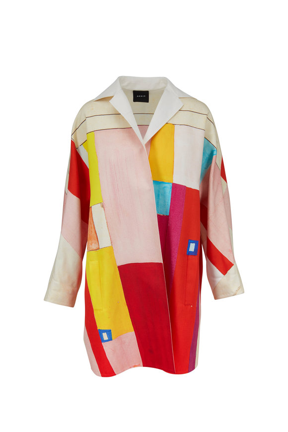 Akris Multicolor Mural Print Reversible Coat