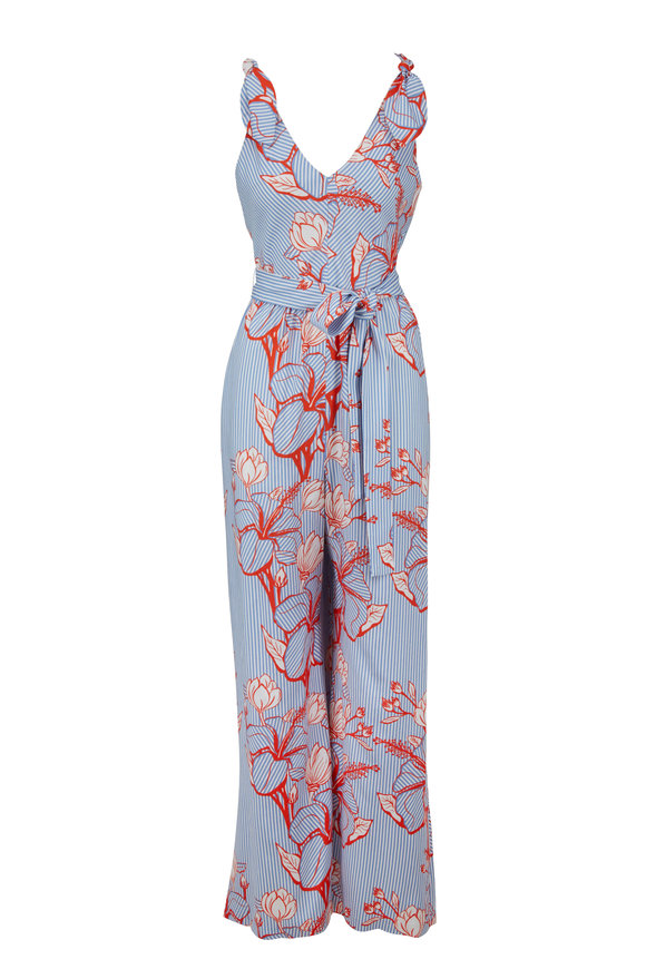 Lela Rose Sky Blue Floral Print Belted Jumpsuit