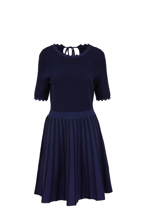 Lela Rose Navy Mixed Knit Full Skirt Dress