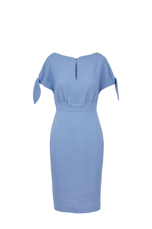 Lela Rose Sky Blue Self-Tie Cape Sleeve Dress