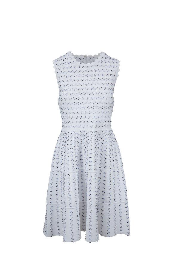 Lela Rose White & Blue Knit Sleeveless Dress