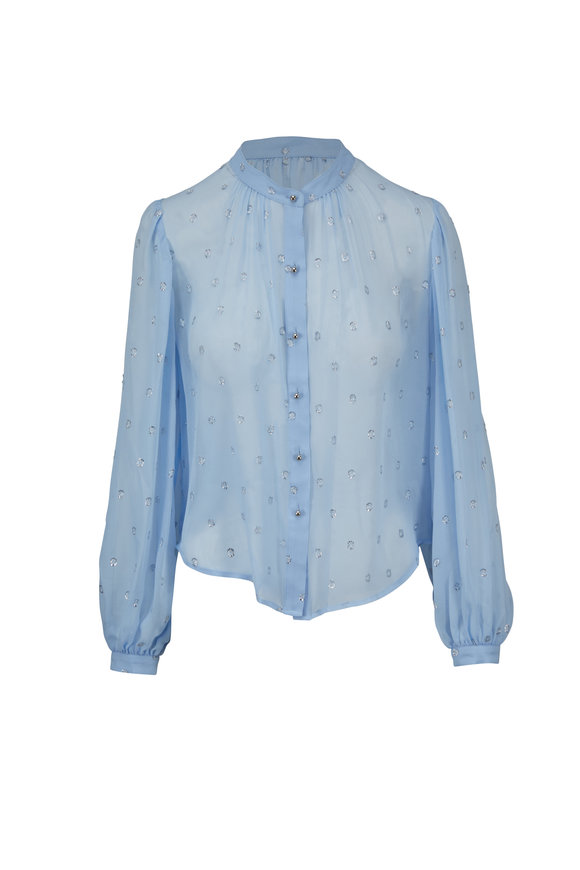 Veronica Beard Ashlynn Light Blue Metallic Jacquard Blouse