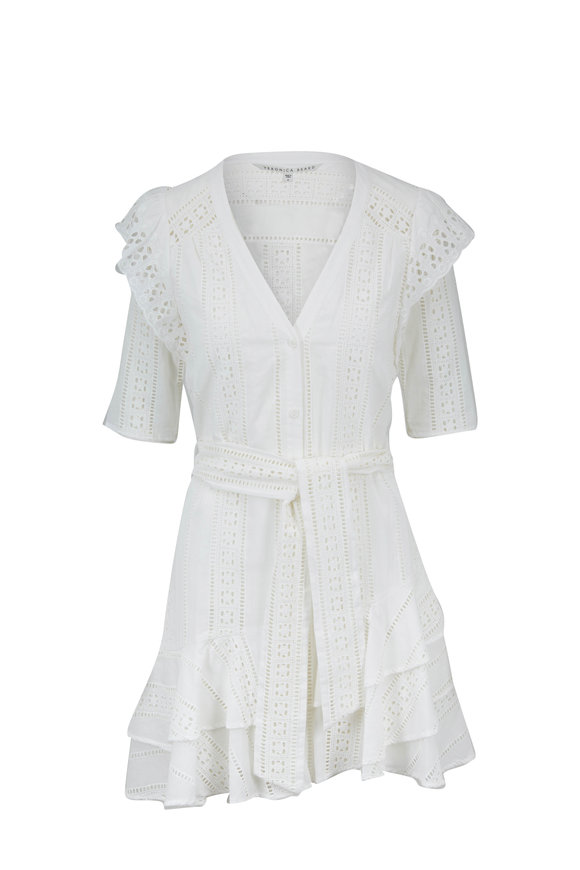 Veronica Beard Sima White Lace Mini Dress