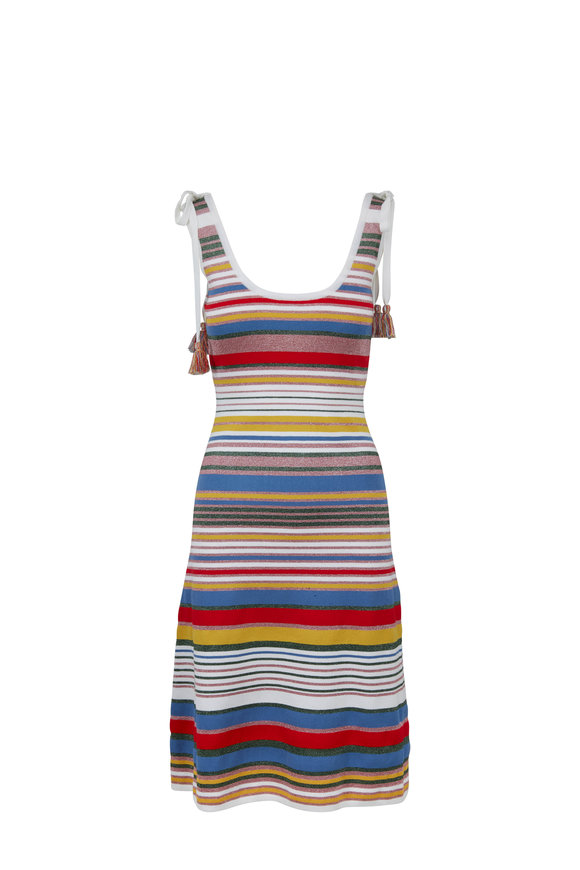 Veronica Beard Dulce Rainbow Striped Knit Sleeveless Dress