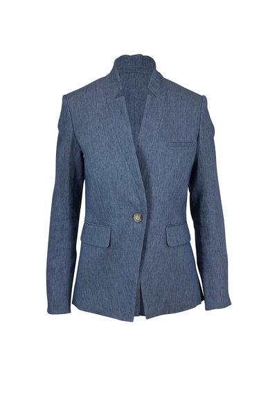 Veronica Beard - Upcollar Light Blue Linen Blend Dickey Jacket