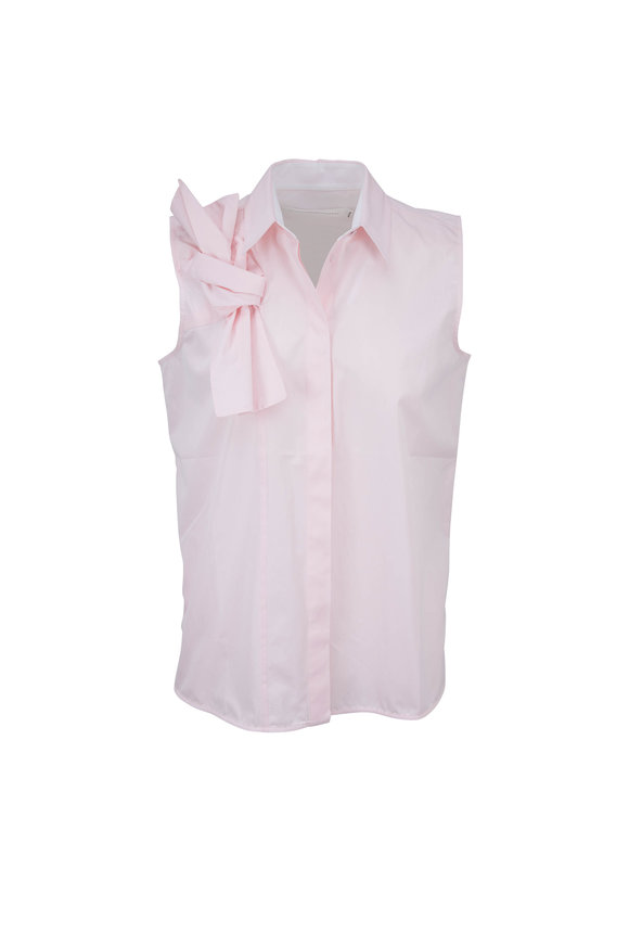 Victoria, Victoria Beckham Pale Pink Cotton Sleeveless Blouse