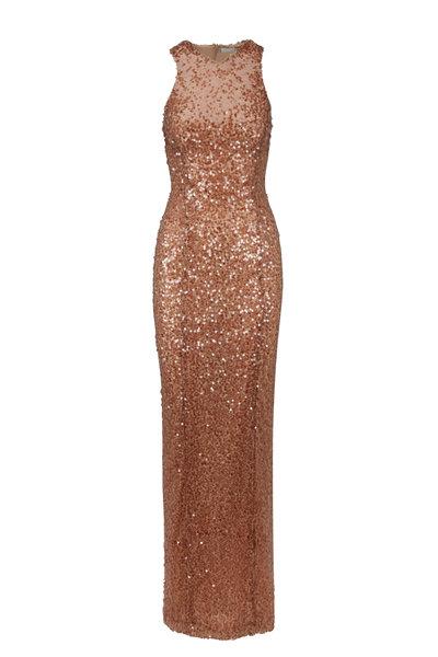 Galvan - Mira Flores Copper Sequined Racer Gown