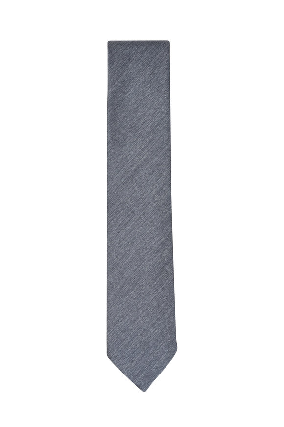 Ermenegildo Zegna Grey Silk Necktie