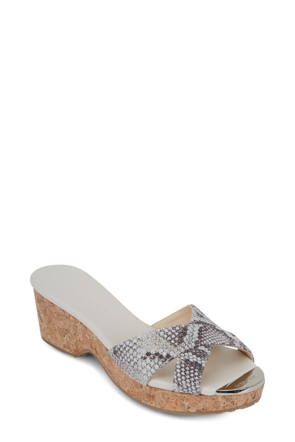 Jimmy Choo Panna Natural Snake Print Nubuck Cork Wedge, 50mm