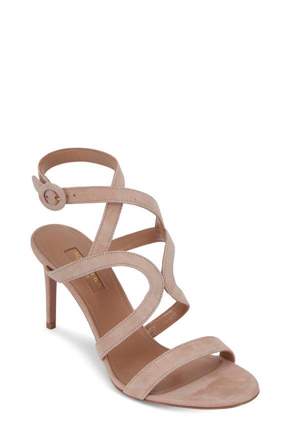 Aquazzura Morena Powder Pink Suede Sandal, 85mm