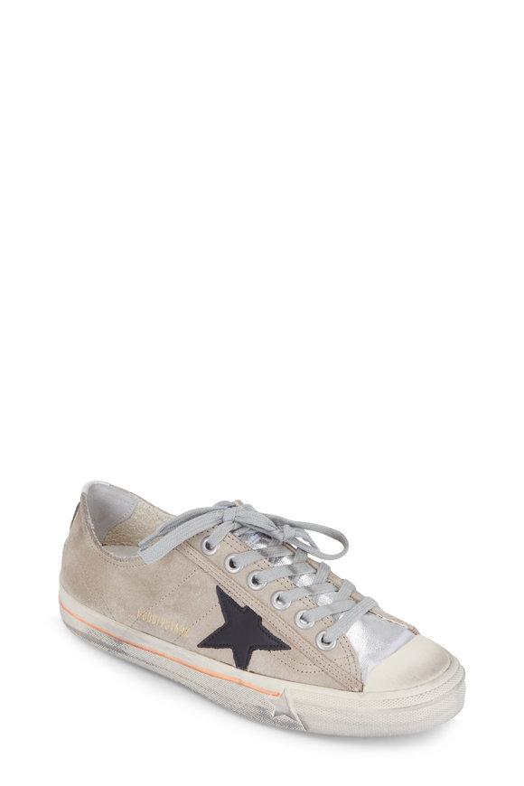 Golden Goose Women's V-Star Sand Suede Silver Cap-Toe Sneaker