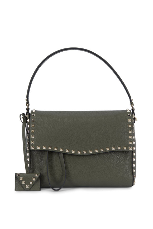 Valentino Rockstud Army Green Medium Shoulder Bag