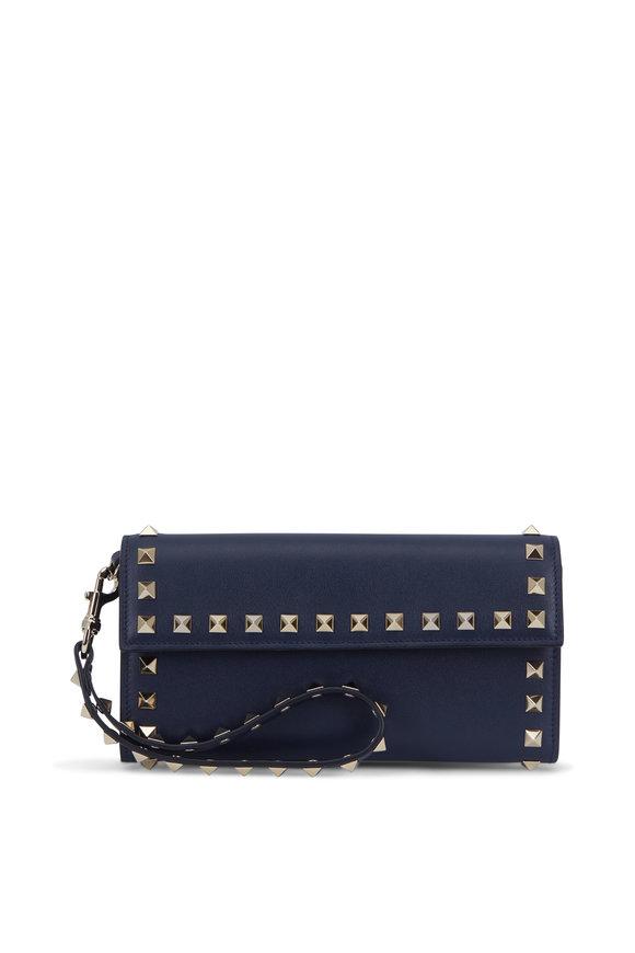 VALENTINO GARAVANI Rockstud Navy Blue Leather Wristlet Wallet