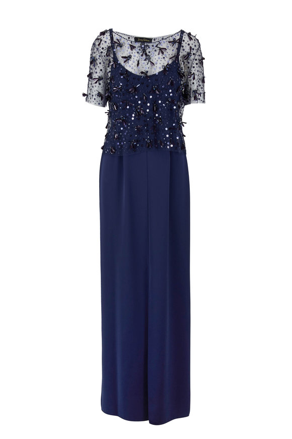 Jenny Packham Navy Blue Beaded Top With Detachable Slip Gown