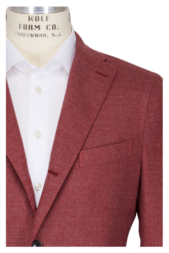 Boglioli Red Wool Blend Basket Weave Sportcoat