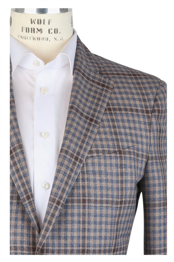 Luciano Barbera Tan & Blue Wool Check Sportcoat