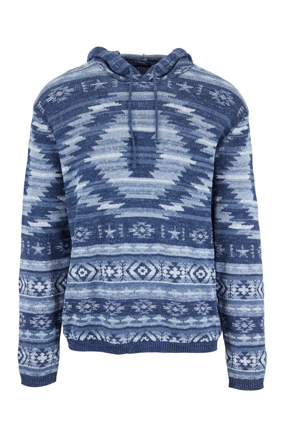 Polo Ralph Lauren Blue Aztec Linen & Cotton Hooded Sweater