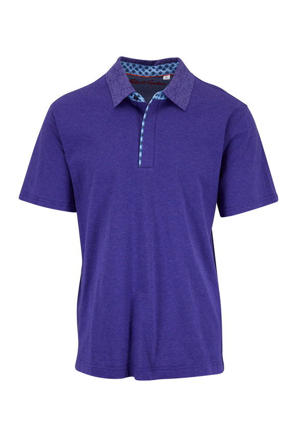 Robert Graham Diego Purple Cotton Classic Fit Polo