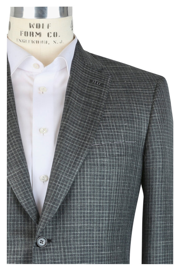 Brioni Green Wool, Silk & Linen Plaid Sportcoat