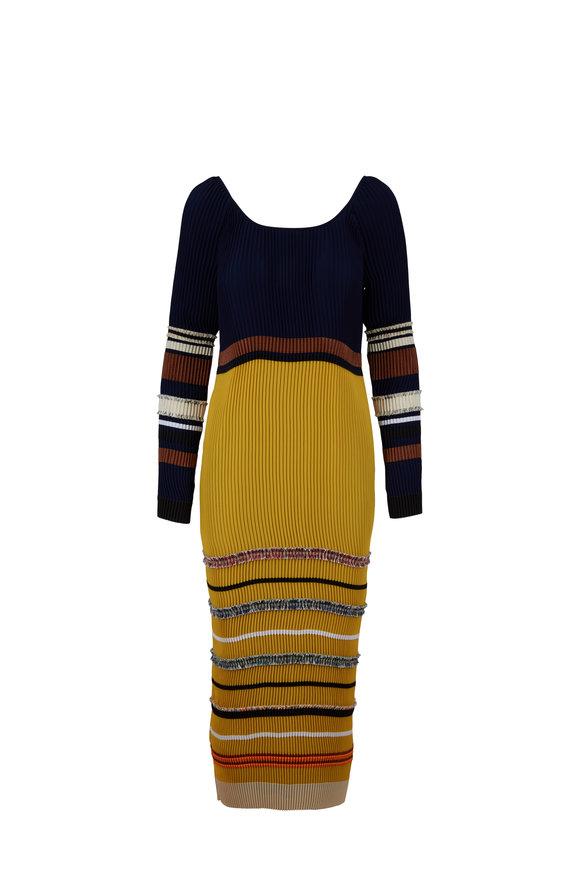 Derek Lam Navy Blue Plisse Embroidered Dress