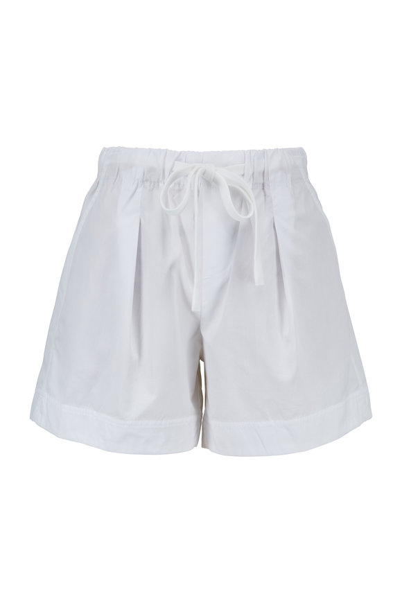 Vince Optic White Pleat Front Shorts