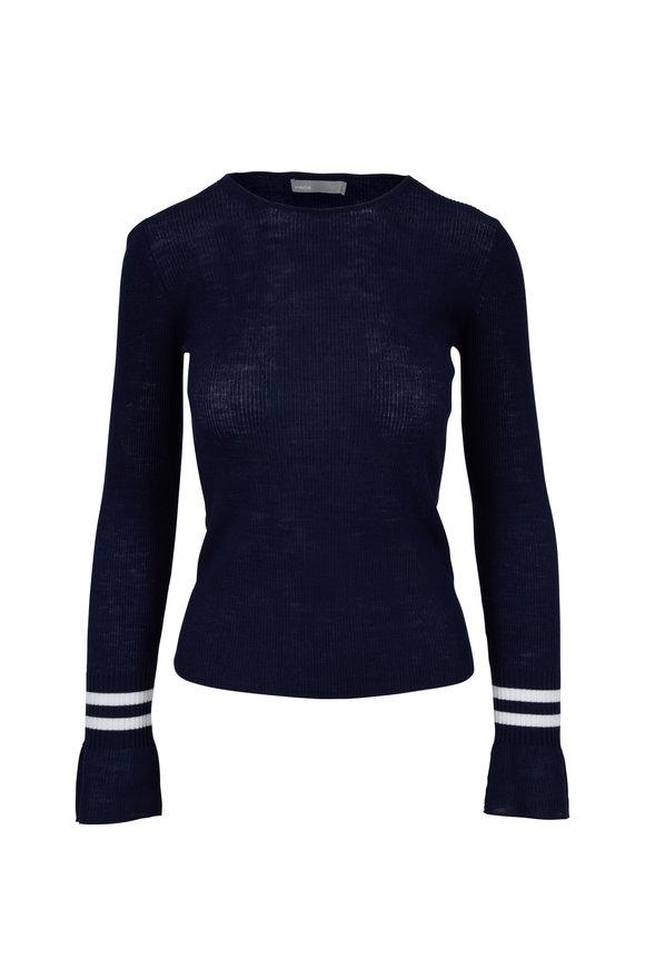 Vince Coastal Blue & Optic White Striped Cuff Sweater