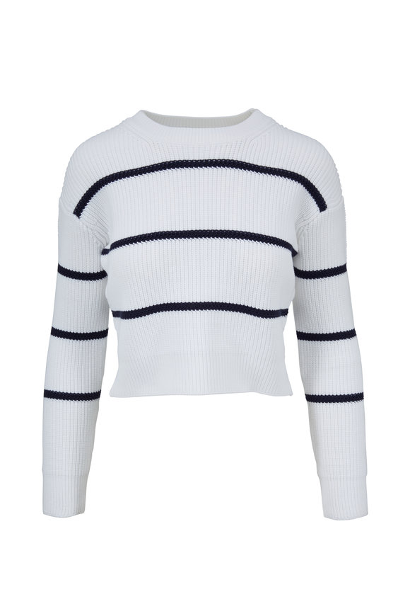 Vince Optic White & Coastal Blue Striped Crop Sweater