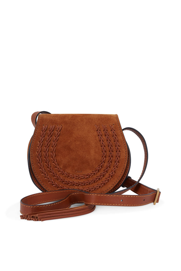 Chloé Marcie Caramel Suede Mini Saddle Crossbody